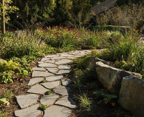 Gartenweg aus Betonpflaster mit Moos