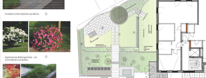 Pflanzplanung Garten mit Terrasse