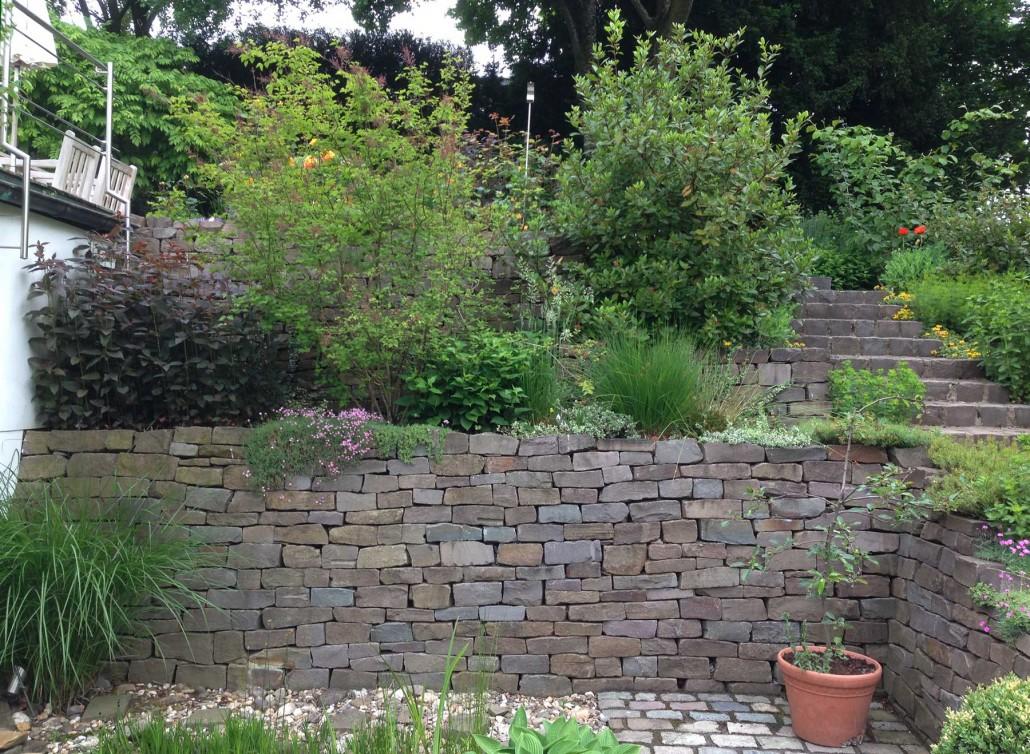 hanggarten hausgarten in haan trockenmauer aus naturstein treppe grauwacke anlegen bilder
