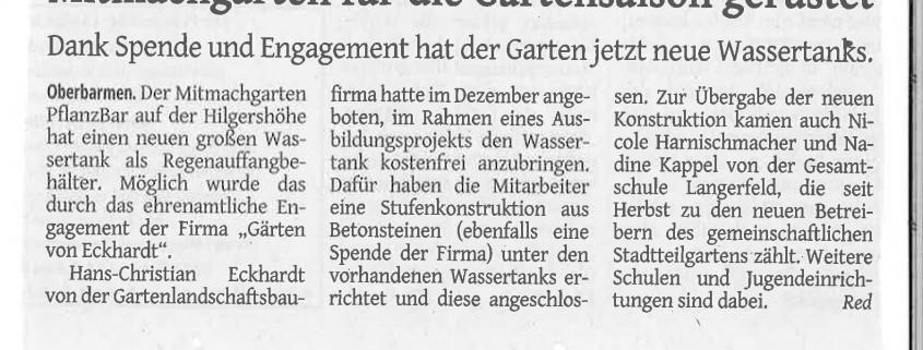 Westdeutsche Zeitung: Mitmachgarten für die Gartensaison gerüstet