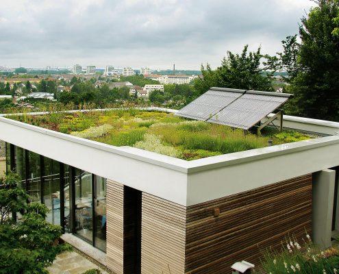 Dachgarten mit Solarpanelen
